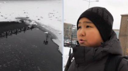 10 жастағы Ильдар аязды күнде суға кете жаздаған құрдасын құтқарды