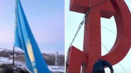 Көк тудан Совет одағының символын артық көретіндер шу шығаруда (видео)