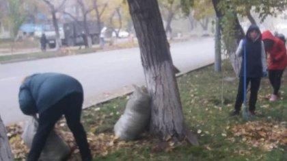 Семейде мұғалімдер сабақ өткізудің орнына қала көшелерін тазалаған