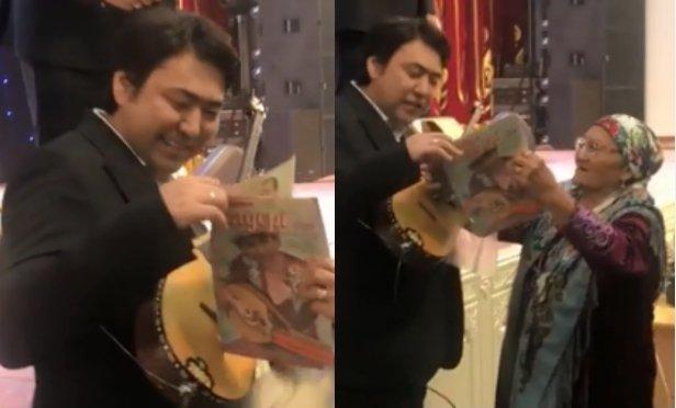 Көкшетаулық әже Мейрамбек Беспаевқа 29 жыл бұрын әншінің суреті шыққан журналды көрсетті (ВИДЕО)