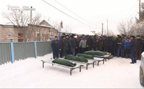 Астанада өрттен қаза тапқан 5 баланы көпшілік ақтық сапарға шығарып салды