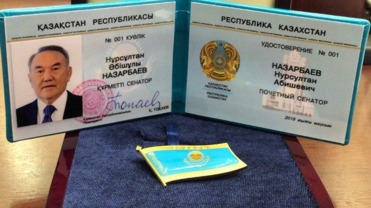 Назарбаевқа «Құрметті Сенатор» төсбелгісі мен куәлігі табысталды