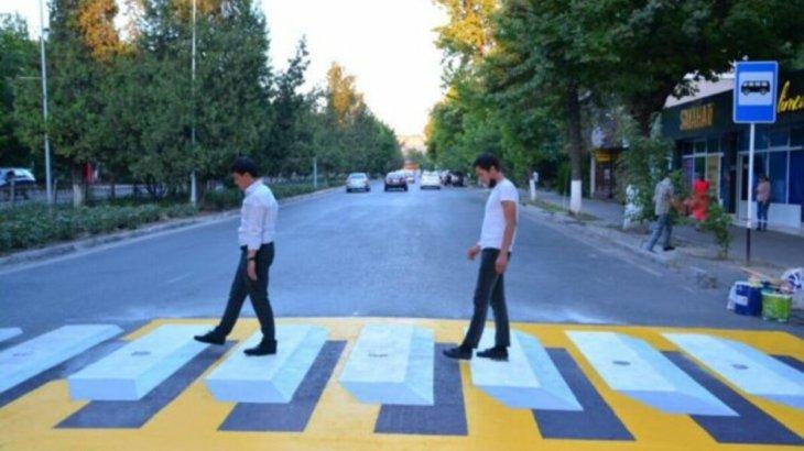 Шымкент қаласында 3D форматындағы алғашқы жаяу жүргінші жолы пайда болды