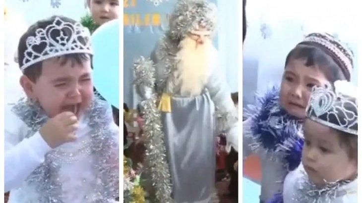 Аяз Атаны көрген балалар жылап жіберді (ВИДЕО)