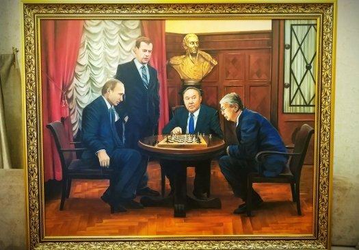 Қос елдің төрт президенті бір-ақ тұр: «Шахмат ойыны» картинасы сатылымға қойылды