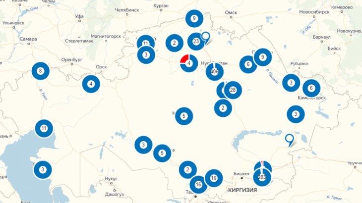 Коронавирус қаупі жоғары аймақтар картасы Egov.kz сайтына бекітілді