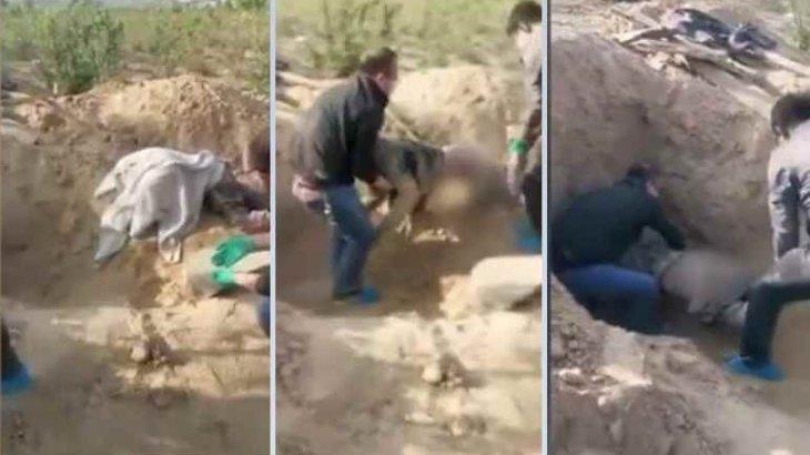 Полиция зираттан ұлы тірідей көміп тастаған кейуананы шығарып алды
