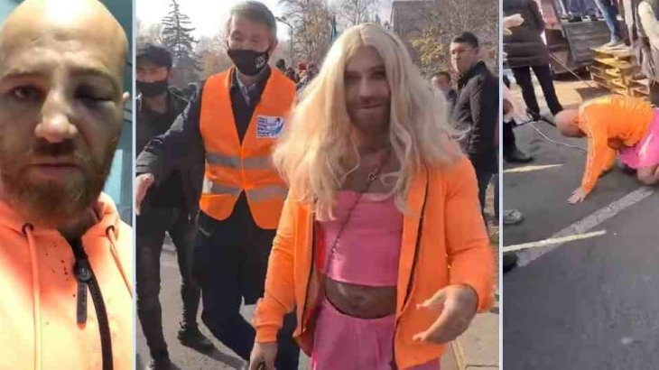 Алматыда митингіге трансгендер болып киініп келген жігіт таяқ жеп қайтты (видео)