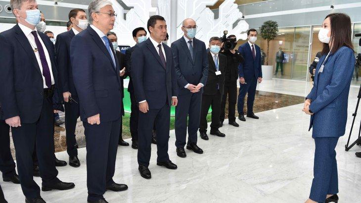 Тоқаев пен Жапаров«Астана» халықаралық қаржы орталығына барды
