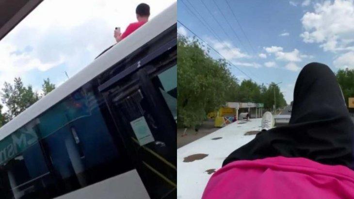 «Хайп үшін автобус төбесіне шыққан»: Ақсу қаласының азаматы жауапқа тартылды