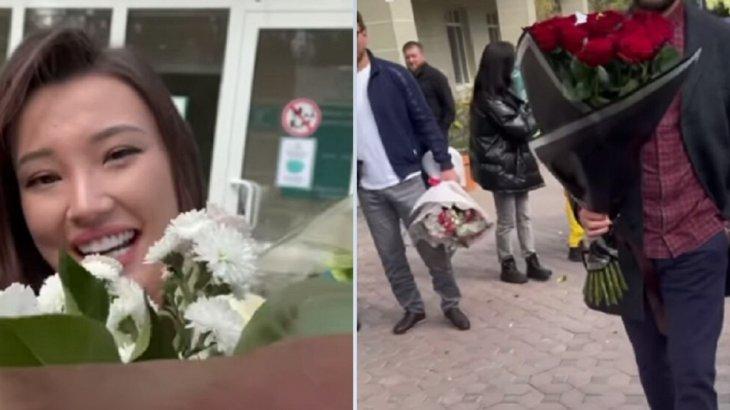 Сабина Алтынбекованы жолдасы перзентханадан салтанатпен шығарып алды